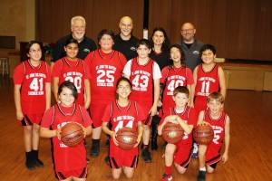 St. John The Baptist basketball players with Mike Rose, Peter Bizaca, Nancy Jordan & Brad Woodland